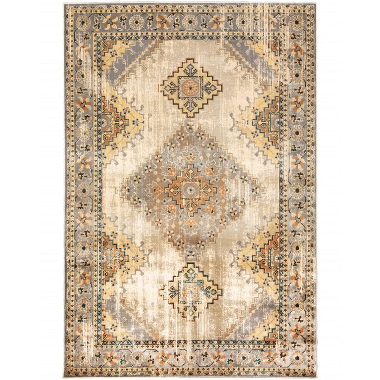 Product Photo: 8 x 10 Gray and Beige Aztec Pattern Area Rug 387949