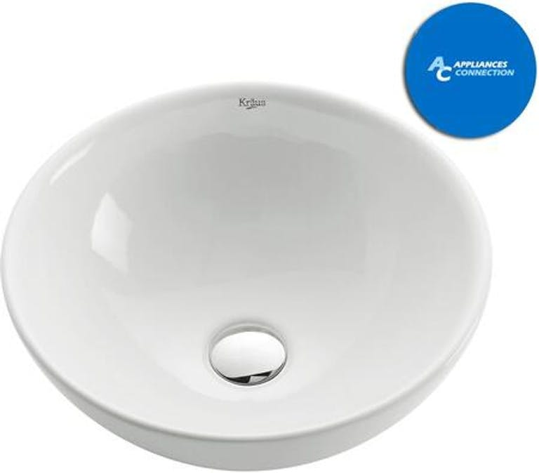 Product Photo: White Ceramic Series Round Ceramic Vessel Sink with Included Pop-up Drain Satin Nickel Finish KCV141SN