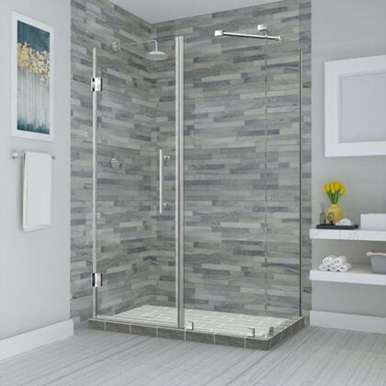 "Product Photo: Bromley 56.25"" To 57.25"" X 32.375"" X 72"" Frameless Corner Hinged Shower Enclosure In Stainless Steel SEN967EZSS57353210"