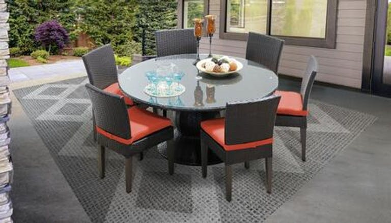 Product Photo: Belle Collection Patio Dining Set with 1 Table 6 Side Chairs Wheat and Tangerine Covers BELLE60KIT6CTANGERINE